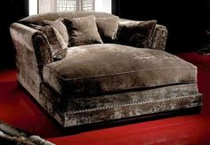 Big, huge, over-sized double chaise lounge chair to snuggle up & read or watch TV or movies with kids, hubby or alone. My husband would love this to lounge in! Lounge Design, Table Design, Chair Design, Oversized Chaise Lounge, Oversized Chair, Oversized Furniture, Cozy Place, My New Room, Cool Furniture