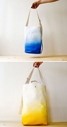The LTX Collection is a collection of 3 sized bags by French brand TeddyFish, made of raw canvas in gradient latex coating. Tye Dye, Shibori, Dip Dye Shirt, Crafty Craft, Fabric Painting, Diy Clothes, Diy Fashion, Diy Gifts, Sewing Projects