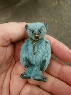 Miniature 6cm Teddy Bear 'Orli' in dk teal  by Aerlinn Bears