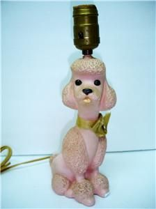 Image detail for -Vintage Pink French Poodle Lamp 1956 Kitsch Retro Plaster Figurine ...
