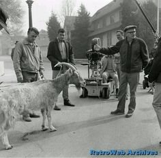 Director Bob Sweeney and Andy Griffith behind the scenes of the Andy Griffith Show // Episode: The Loaded Goat Howard Mcnear, Frances Bavier, Denver Pyle, The Backlot, James Best, Barney Fife, Don Knotts, The Andy Griffith Show, Childhood Tv Shows