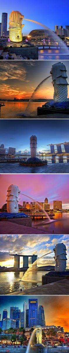 My absolute favorite place to be - Singapore. I lived there for several years and I still miss it dearly. Here you see the Merlion - symbol of Singapore, and some nice views of the city.
