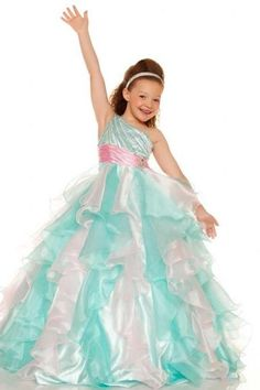 2016 New Design Colorful Ball Gown One Shoulder Organza Girl Pageant Dresses Organza Beading Ruffle Tiers Floor Length Custom Size