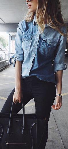 street style perfection: denim shirt + skinny pants + bag