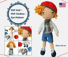 Crochet Doll Pattern, Crochet Dolls, Crochet Patterns, Crochet For Boys, Love Crochet, Crochet Hook Sizes, Crochet Stitches, Crochet Eyes, Crochet Doll Clothes