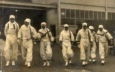 This is also a great pin for topic C.) Britain: This is an image of nuclear firefighters who worked in protective clothing to tackle the blaze at Windscale (later known as Sellafield) in Cumbria in 1957. Significant because it was one of the 5 worst nuclear disasters.