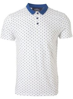 White And Blue Spot Polo