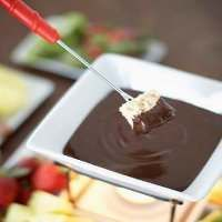 Sugar free chocolate fondue - We used Agave for the sweetener. Still a little bitter but definitely pretty yum with some sweet fruit.