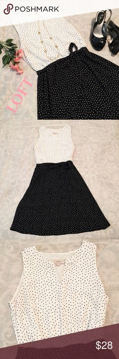 """Ann Taylor Loft Dress Ann Taylor Loft black and white polka dot dress. Sleeveless, with a split neck and Peter Pan style collar. Elastic waist with a tie sash. 36 1/2"""" from shoulder to hem. 100% polyester shell and lining. LOFT Dresses"""