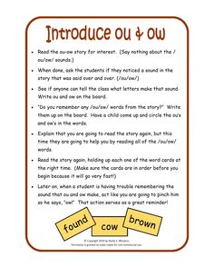 Introduction Activity for the Sound of ou/ow