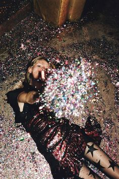 Image of a young woman wearing a red dress from our latest collection lying on a floor and throwing confettis at the camera. Mode Disco, New Mode, Glitter Party, Studio 54, Flirt, Foto Art, Looks Style, Dresses For Sale, Night Out