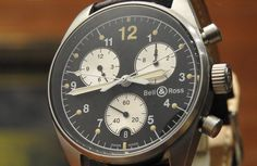 Exclusive Bell & Ross A chronograph watch with Double Chrono Hands with Box Mens #BellRoss