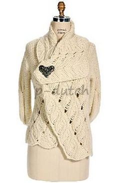 Sleeping-on-Snow-Anthropologie-rare-ivory-2004-Cable-Blanket-Cardigan-L