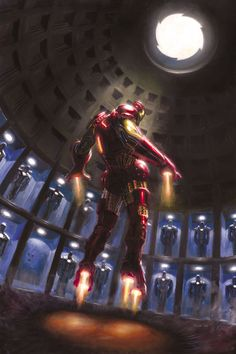 """""""Iron Man"""" by Paolo Rivera. (Tony has apparently purchased the Pantheon in Rome, and converted it into his suit closet.) He would you know, I can just hear him now. """"It's just taking us space and besides it looks better on top of my tower. Comic Movies, Comic Book Characters, Marvel Characters, Marvel Comics, Marvel Heroes, Captain Marvel, Image Pinterest, Absorbing Man, Iron Man Art"""
