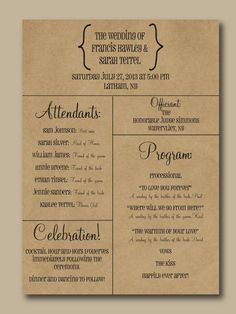 Printed Wedding Program Typography Design by WrittenInDetail