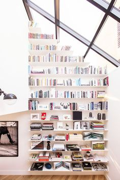 book shelves across entire wall