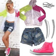 Jordyn Jones posted a photo on instagram wearing the Brandy Melville Scar Windbreaker Jacket ($25.00, black only), Urban Outfitters Urban Renewal Recycled Destroyed Roll-Hem Shorts ($54.00, wrong color), pink Converse Chuck Taylor All Star Core Hi Sneakers ($55.00), and her Meira T 14K White Gold Diamond Cuff Earrings ($1,275.00). Get the look for less with ear crawlers from Aqua ($22.00).