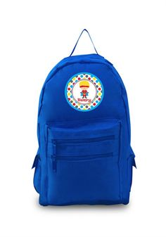 a00d16f8cb35 Blonde Hair Boy Superhero on Personalized Blue Backpack