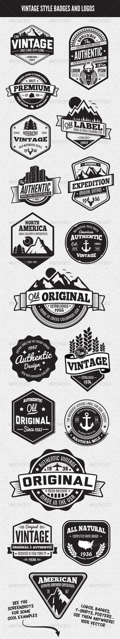Buy Vintage Style Badges and Logos Vol 3 by GraphicMonkee on GraphicRiver. Overview This vector set contains 18 vintage/retro styled badges, signs and logos. The graphics are vector and a. Packaging Inspiration, Inspiration Logo Design, Webdesign Inspiration, Tattoo Inspiration, Typography Logo, Graphic Design Typography, Branding Design, 3 Logo, 404 Pages