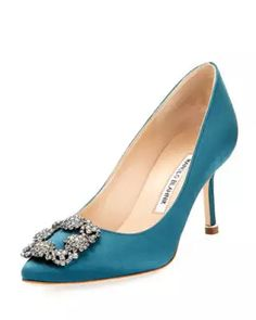 Hangisi 70mm Satin Embellished Pump, Bright Blue Manolo Blahnik Hangisi,  Pointed Toe Pumps, 9405ce7260