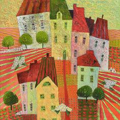 Charming House, Little Houses, Pretty Little, Diy And Crafts, Canvas, Artist, Landscapes, Painting, Urban Landscape
