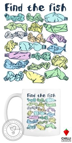 "Trendy environmental mug design with slogan ""Find the fish"" and save the oce.Trendy environmental mug design with slogan ""Find the fish"" and save the ocean from plastic pollution. Eco t-shirt. Mug design. Environmental engagement and awareness Environmental Posters, Environmental Pollution, Environmental Issues, Ocean Pollution, Plastic Pollution, Plastic Problems, Save Our Oceans, Save Our Earth, Marine Conservation"