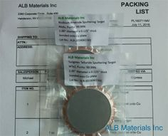 ALB Materials Inc supply Tungsten Telluride Sputtering Targets and also provide bonding service with high quality at competitive price.