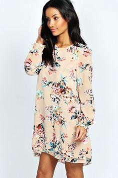 Nancy Double Layer Bouquet Shift Dress | Soft, layered tunic dress