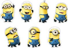 Free Printable Cake Toppers for a Minions Party. Minion Party Favors, Minion Theme, Minion Birthday, Unicorn Birthday Parties, Unicorn Party, Minion Cupcake Toppers, Minion Cupcakes, Minion Stickers, Unicorn Stickers