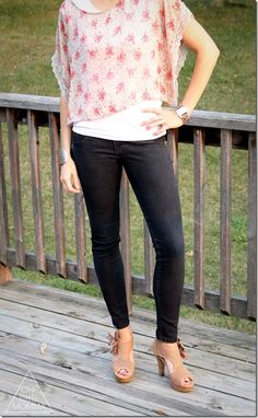 Chic and sweet summer date outfit- sheer floral poncho, black skinny jeans and nude peep toe heels. Love the shoes!!