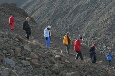 Hiking on rugged underground