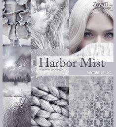 Модный цвет Pantone 2018 - Harbor Mist. Коллаж от Зои Ти