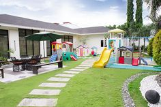 The garden is completed with a colorful playground for the Pacquiao kids, particularly the two youngest ones named Queenie and Princess. General Santos, Modern Contemporary Homes, Manny Pacquiao, Young Ones, Celebrity Houses, House And Home Magazine, Playground, Philippines, Two By Two