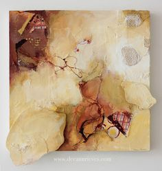 """Bundle ; mixed media and machine embroidery on paper and wood panel ;17"""" X 18"""" #art #deeannrieves www.deeannrieves.com"""
