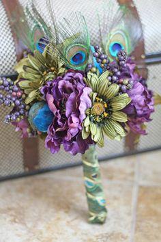 Peacock Wedding Bouquets | Peacock Wedding Bridesmaid Bouquet by ... | Wedding vow renewal