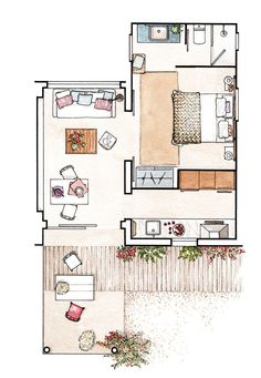 Apartament de 37 m² decorat pentru o vacanță de vis la mare Jurnal de design interior Floor Plan Sketch, Floor Plan Drawing, Floor Plan Layout, Floor Plan Rendering, Drawing Interior, Interior Design Sketches, Home Interior Design, Interior Painting, Layouts Casa