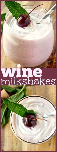 wine-milkshakes With just two ingredients, this is the easiest boozy drink you will ever make. Just blend dessert wine and vanilla ice cream and you are on your way to having the best adult milkshake you can imagine! by elva Alcohol Recipes, Wine Recipes, Cooking Recipes, Easy Recipes, Kitchen Recipes, Cocktail Recipes, Cooking Tips, Healthy Recipes, Bon Dessert