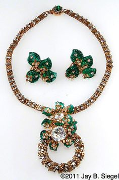 Miriam Haskell Green Leaf & Rhinestone Necklace & Earrings Set  Miriam Haskell Perfectly Pale Yellow Crystal Necklace *1950's  http://www.rubylane.com