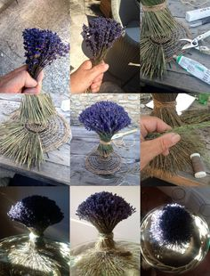 steps to create a lavender bouquet the first step is a straight parallel bundeling in the center of the bouquet. the thin stems side by side, til a segment of the round form becomes visible, shows the coming up shape. the adding of stems becomes now slanter and slanter... is a beginning of a spiral to the left...