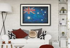 Flag of Australia. Hand painted textured painting. Home decor element. Patriotic art.