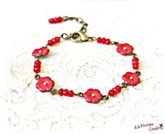 Bratara cu floricele corai si jad rosu Jad, Beaded Bracelets, Jewelry, Jewellery Making, Jewerly, Jewelery, Pearl Bracelets, Jewels, Jewlery
