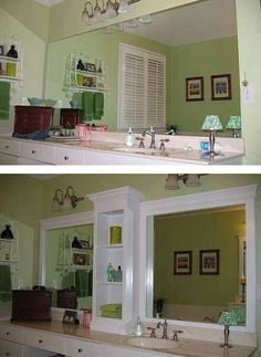 Update a plain bathroom mirror by adding shelving in the middle and adding a frame / molding.