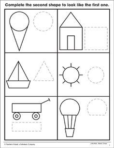 Shapes: Trace & Draw& (Fine Motor Skills) by Scholastic Kindergarten Worksheets, Worksheets For Kids, Toddler Activities, Preschool Activities, Dementia Activities, Physical Activities, Shapes For Kids, Math For Kids, Art Drawings For Kids