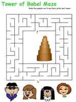 Tower of Babel maze, crossword, cryptogram, anagrams, and word search--good for older elementary aged kids.