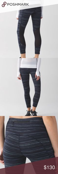 Lululemon Speed Crop Lululemon Speed Crop. Excellent used condition. Only wash with other Lulu on delicate and hung to dry. Size 10, color is cyber stripe navy blue. Smoke-free, cat friendly home. No trades or 🅿️🅿️. lululemon athletica Pants