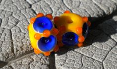 More Dotty Dots LAMPWORK Pair Lampwork Beads by by happyskull, $8.50
