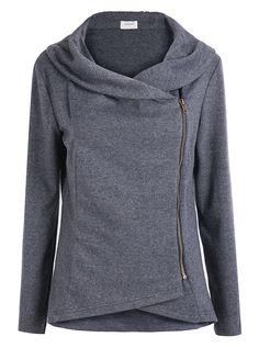 Dark Grey Long Sleeve Asymmetric Zip Outerwear