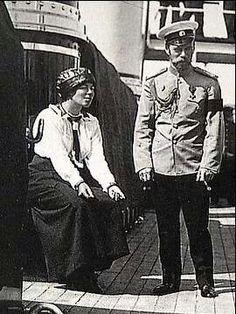 Tsar Nicholas ll of Russia with his sister Grand Duchess Olga Alexandrovna on the Standart.