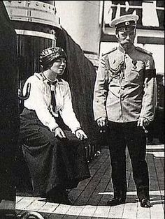 Tsar Nicholas ll of Russia with his sister Grand Duchess Olga Alexandrovna on the Standart.