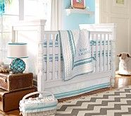 Harper Nursery Bumper Bedding Set: Crib Skirt, Crib Fitted Sheet & Bumper, Aqua